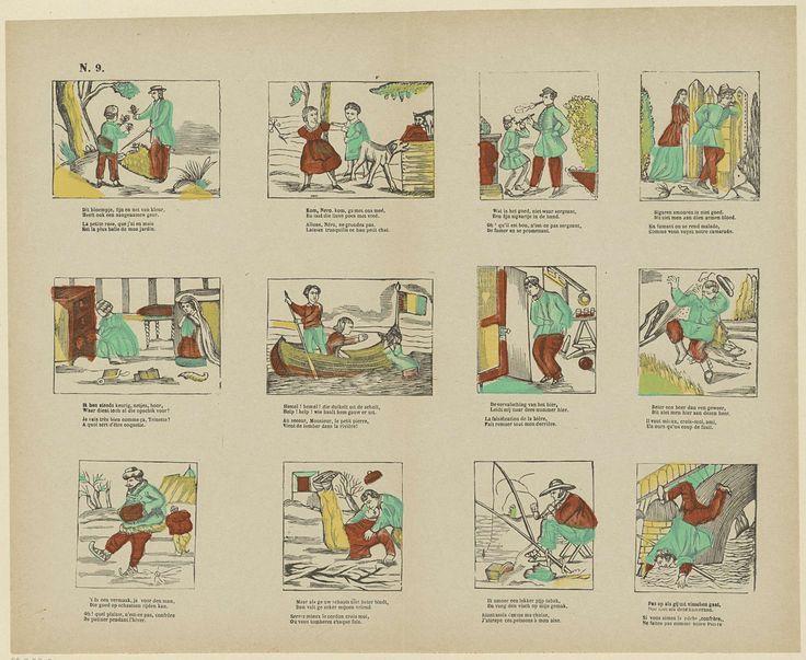 Franciscus Antonius Beersmans | Verschillende voorstellingen, Franciscus Antonius Beersmans, Anonymous, 1866 - 1902 | Blad met 12 voorstellingen van verschillende aard, waaronder voorstellingen van twee mannen die sigaren roken, een jongen die uit de boot valt en schaatsende mensen. Onder elke voorstelling een tweeregelig vers in het Nederlands en in het Frans. Genummerd linksboven: N. 9.