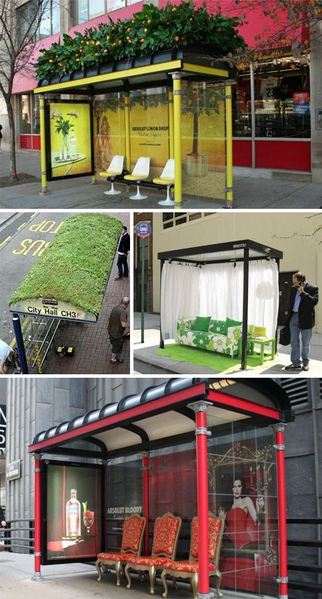 The Bus Stops Here! 34 Bus Stop Guerilla Marketing Hacks Bushaltestelle mal anders - absolut hip kühl