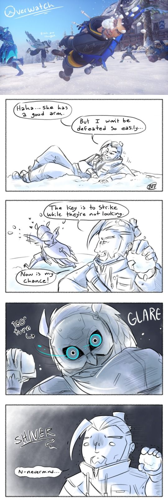 A continuation on that snowball fight scene Blizzard provided us. Also do not mess with the owl lady she will fxxk you up.