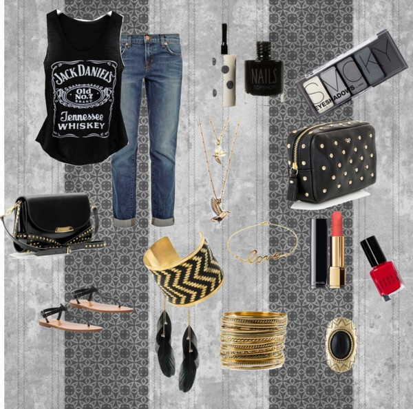 """Jack Daniels shirt and an old pair of jeans"" by cais2645 on Polyvore"