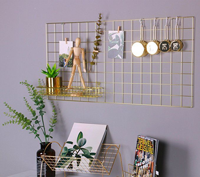Grid Panel Photo Wall Simmerstone Multifunction Wire Wall Mesh Display Panel Decorative Iron Rack Clip Photograph Wal Hanging Photos Cute Dorm Rooms Gold Walls