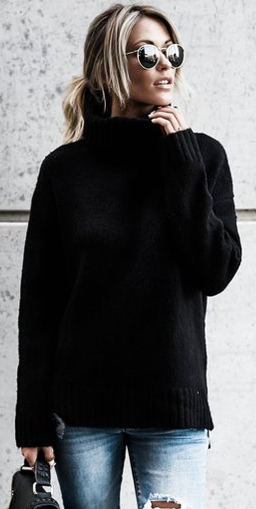 a simple black knit basic sweater that should be in every wardrobe