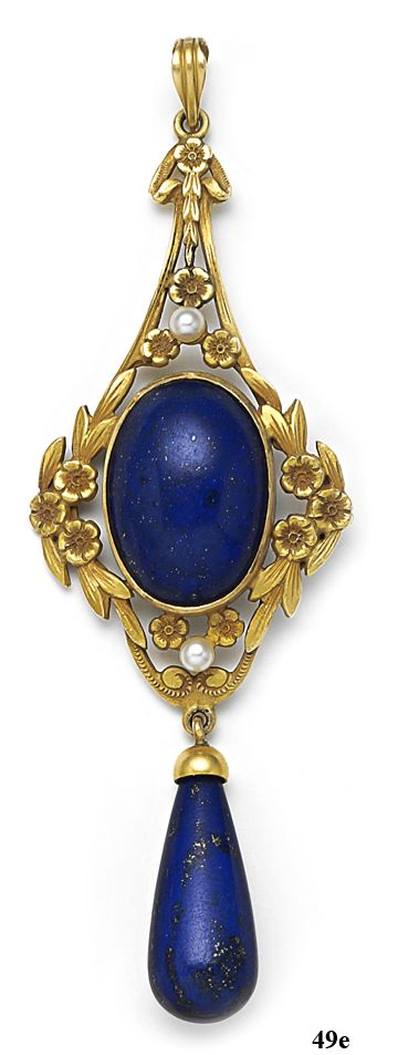 Art Nouveau Lapis lazuli, natural pearl, and gold pendant