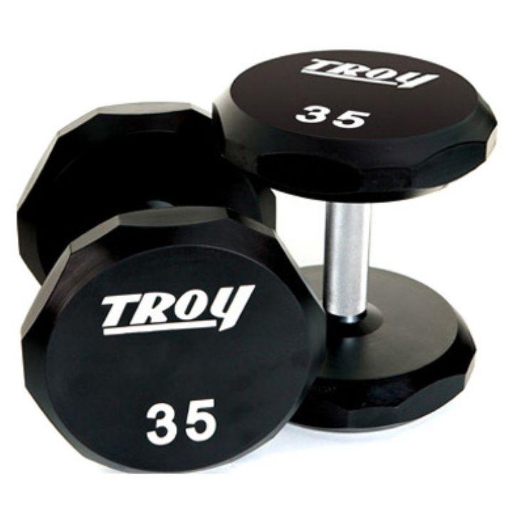 Troy Barbell 12-Sided Urethane Encased Dumbbell Set with Hard Chrome Straight Handle - 105-125 lbs. - TSD-105-125U