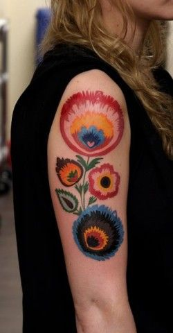 Polish folk style tattoo