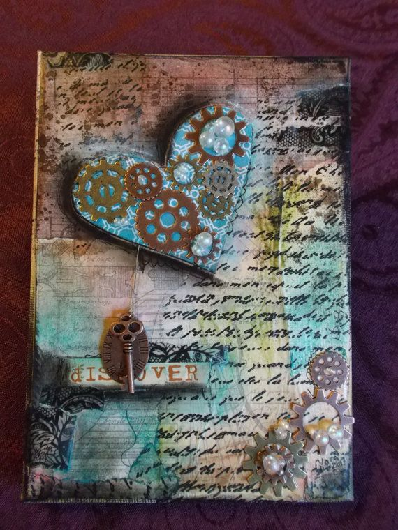344 best images about altered art and mixed media on pinterest for Mixed media canvas art ideas