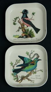 Portmeirion Melamine Snack Trays -- Birds of Britian pattern, Set of 2, small size, made in Italy.