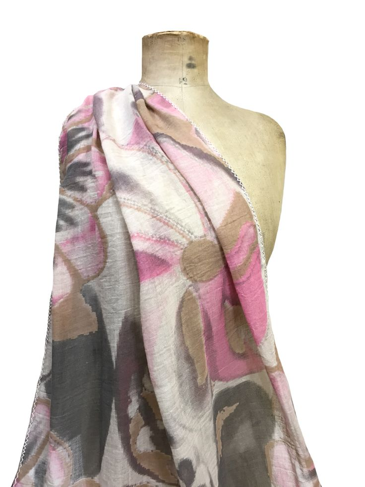 Angelina - large floral print Hem&Edge scarf #pink #multi 100% viscose 65x180cm #springsummer #scarf #accessories #onebutton #hemandedge Click to buy from the One Button shop.