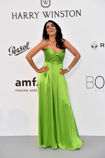 Indian actress Malika Sherawat poses as she arrives for the amfAR's 24th Cinema Against AIDS Gala on May 25, 2017 at the Hotel du Cap-Eden-Roc in Cap d'Antibes, France. / AFP PHOTO / ALBERTO PIZZOLI