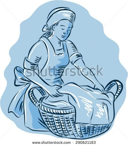 Etching engraving handmade style illustration of a laundry maid woman with basket full of clothes on isolated background.  - stock vector #mother #sketch #illustration