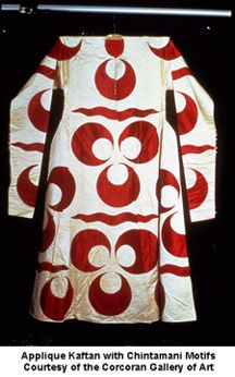 "Applique kaftan, mid-17th century, with chintamani (literally ""auspicious jewels"") motifs. The huge scale ofthese designs, typical of the Ottoman royal costumes, served as a means of projecting the Ottoman Sultan's image and power visually over large distances in public ceremonies with large crowds of attendants and spectators"