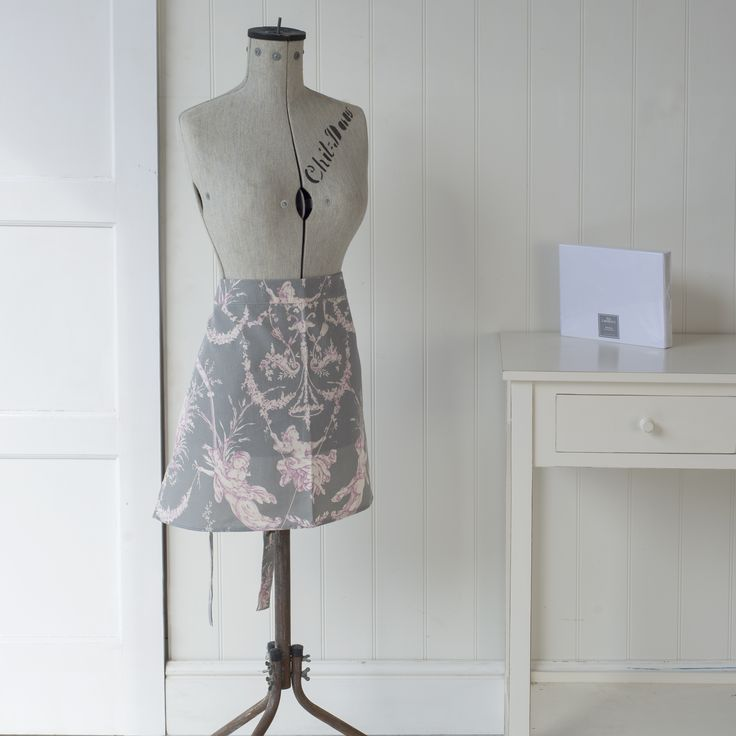 A half #apron in our pink & grey french #toile de jouy #fabric