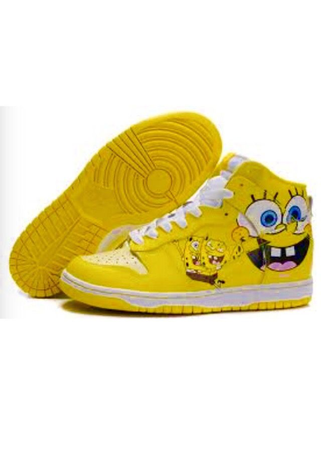 Nike Dunk SB 2012 New High Cut Mens Shoes SpongeBob SquarePants yellow white