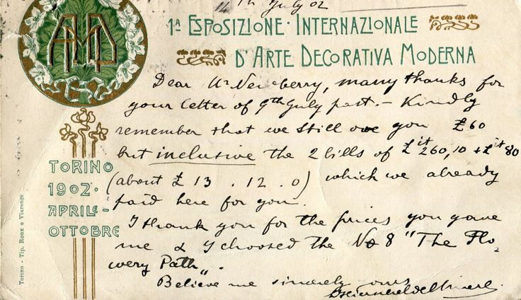 Postcard from Italian Agent Signor Generi to Francis Newbery relating to financial misunderstandings as a result of the exhibition, 1902. (GSAA/EPH/8/7) 8.