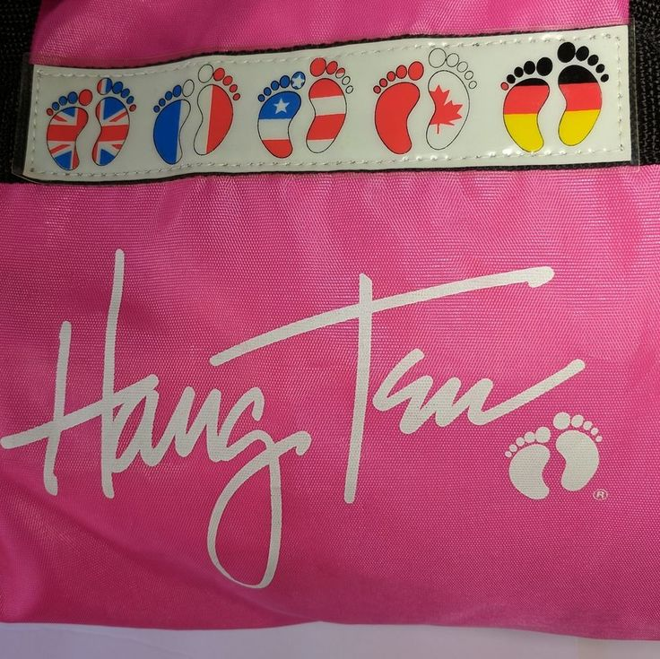 Hang Ten Kick Butt Pink Nylon Bag Feet Flags Duffle Vintage 80s   #HangTen #Vintage