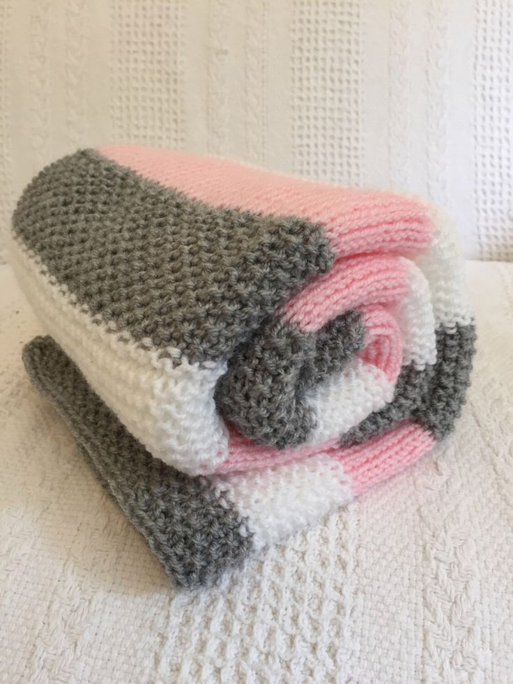 Pretty Hand knit Striped baby blanket ~ supersoft baby yarn