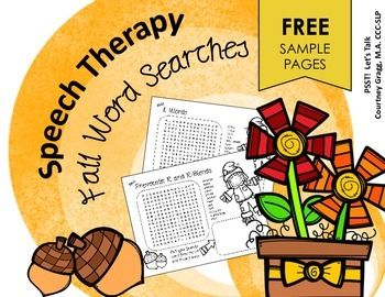 Speech Therapy:  A print-and-go freebie for articulation!  3 fall-themed word searches are included in this freebie to target: Vocalic /r/, prevocalic /r/ & /r/ blends, and /l/.This freebie contains 3 sample pages from my full word search and scramble packet: Fall Speech Therapy Word Search and ScrambleThese worksheets are great for articulation stations in speech therapy or to give out as homework!Looking for more great fall print and go worksheets?