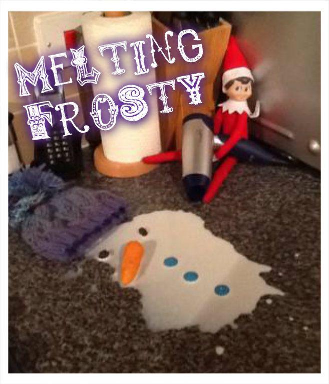 Elf on the shelf prank! Melting frosty the snowman with a hairdryer! so naughty! #elfontheshelf #elfontheshelfprank