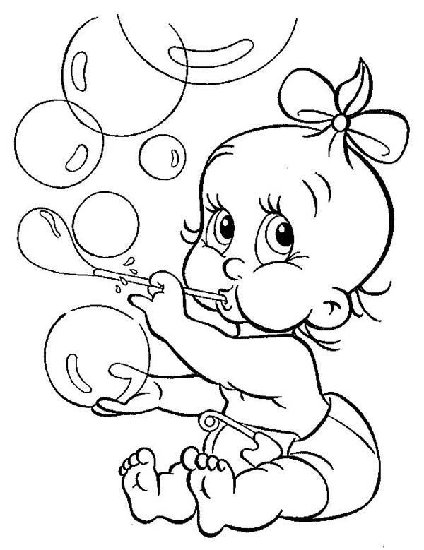 baby with ribbon blowing bubbles coloring page