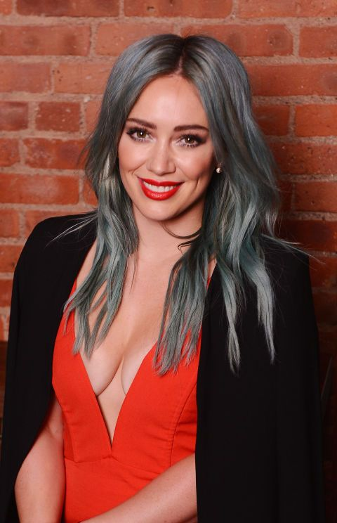 Rainbow hair doesn't always have to mean paint box brights. Work a grungier shade by adding grey undertones to a pastel colour like Hilary Duff.