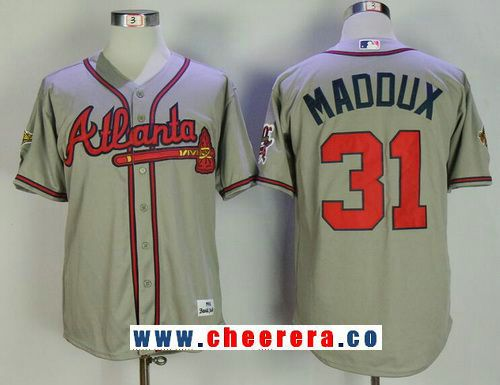 Mens Atlanta Braves #31 Greg Maddux Gray Road Throwback 1995 World Series With 30th Patch Stitched MLB Mitchell & Ness Jersey