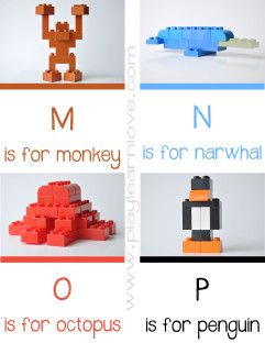 free Lego Animal Alphabet M-P printable  I feel like you need this for your baby sitting @barbiegir55 specifically the narwhal! :-)