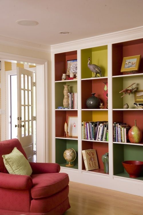 colorful-built-in-shelves (any kind of built-in shelving, especially love beadboard backing)