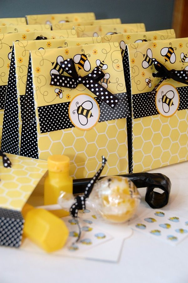 bumble bee birthday party favor bags