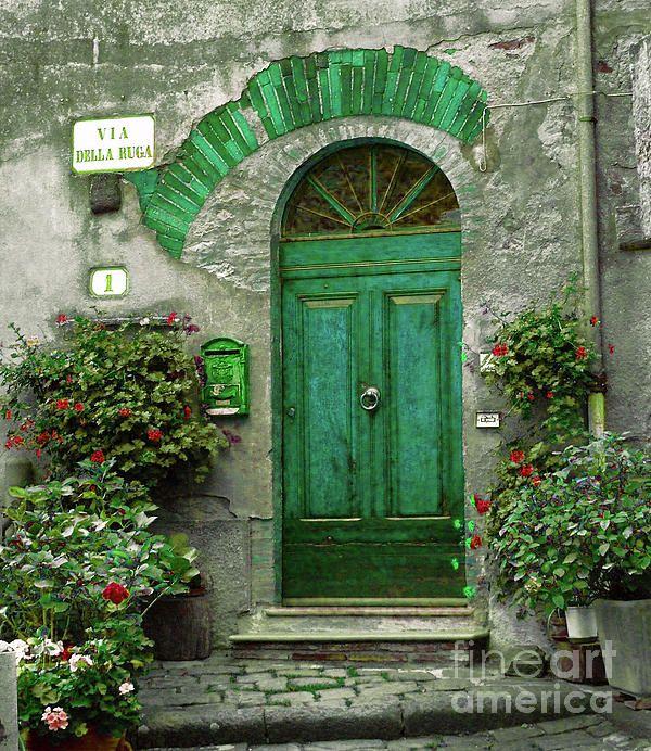 Beautiful Green Door: Green Doors, The Doors, Emeralds Green, Color, Brick, Art Prints, Front Doors, Tuscany Italy, Entrance Doors