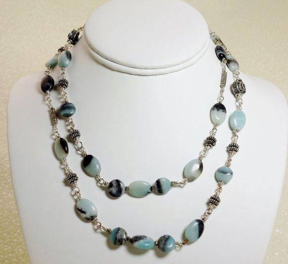 Light Blue Gemstone Necklace Light Blue and by LittleBitCrazy