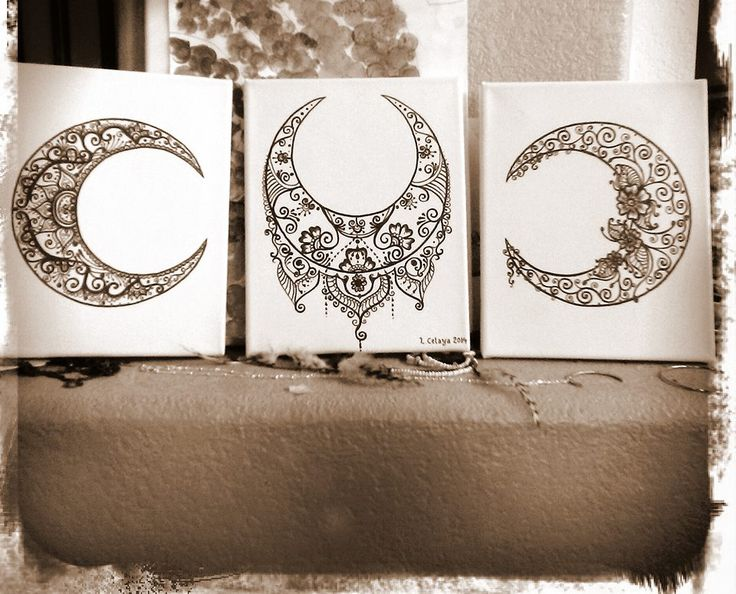 Mehndi Crescent Moon : Henna moon trio for my mama on mothers day