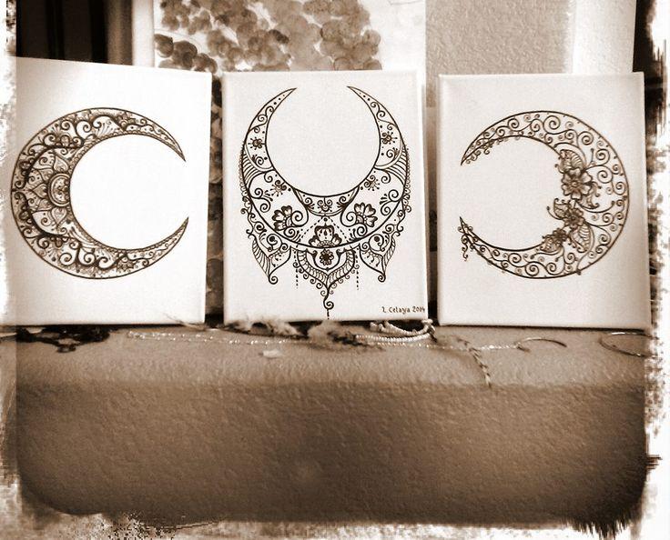 Moon Mehndi Liberty : Henna moon trio for my mama on mothers day