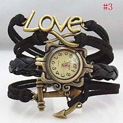 Montre-amour de cristal bateau de l'infini en cuir d'ancrage bande de tissu de bracelet quartz analogique des femmes (couleurs assorties)
