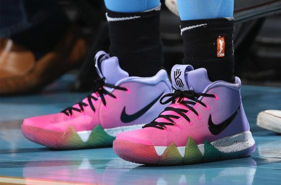 newest 9598b b031a A Pink And Purple Nike Kyrie 4 With Rainbow Soles Has ...