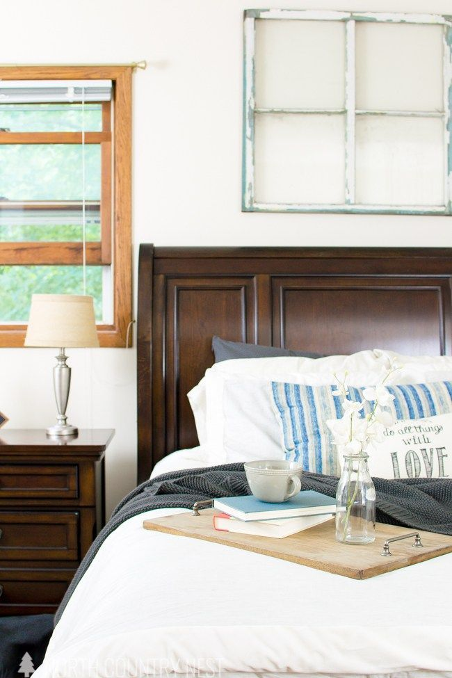 master bedroom summer home tour / home decor ideas / dark wood