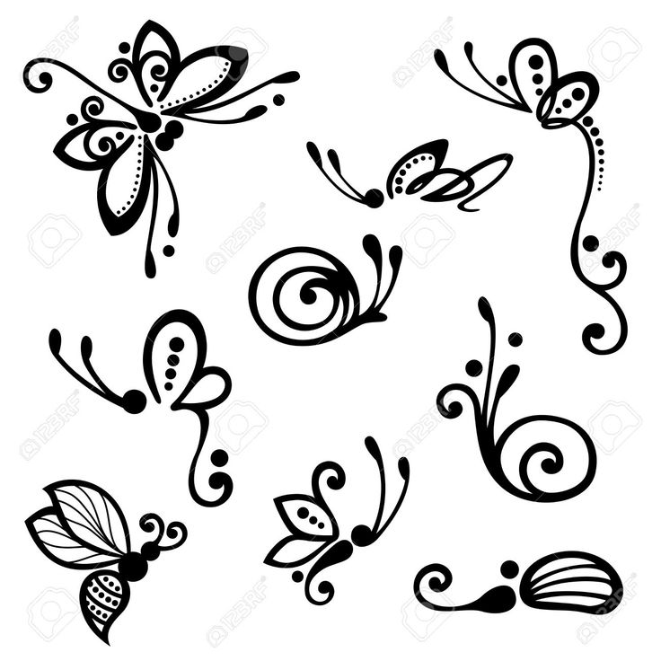 Vector Set of Stylized Ornamental Insects, Patterned design Stock Vector – 32714…