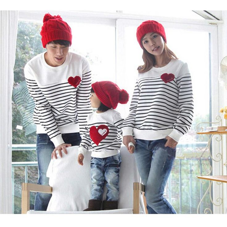 Mother & kids Autumn/Winter/Spring family pack cotton set mother/child clothes, mother and daughter striped long-sleeve T-shirt