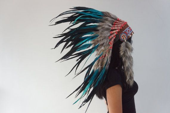HALLOWEEN Blue / Black Native American Headdress by bonesandskull