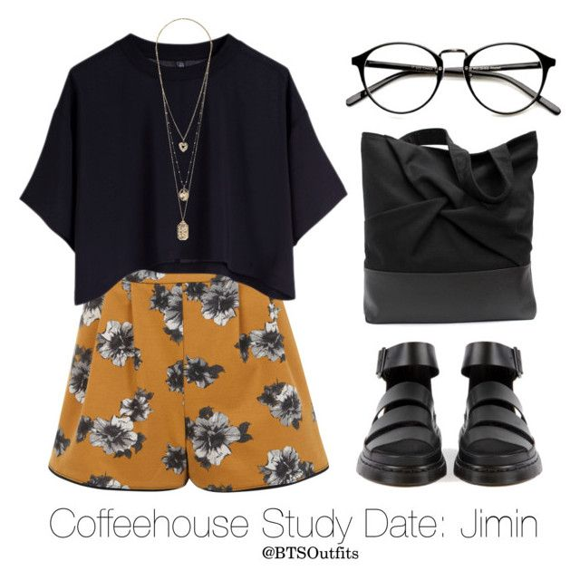 """""""Coffeehouse Study Date: Jimin"""" by btsoutfits ❤ liked on Polyvore featuring Miss Selfridge and Cheap Monday"""
