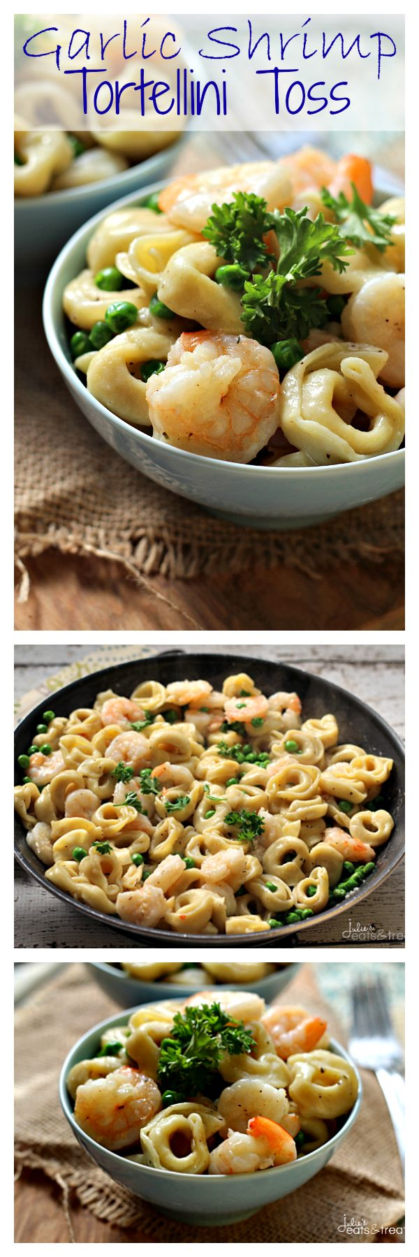 Garlic Shrimp Tortellini Toss ~ Amazing Meal Ready on the table in 20 Minutes! Loaded with Peas, Cheese Tortellini  Shrimp!