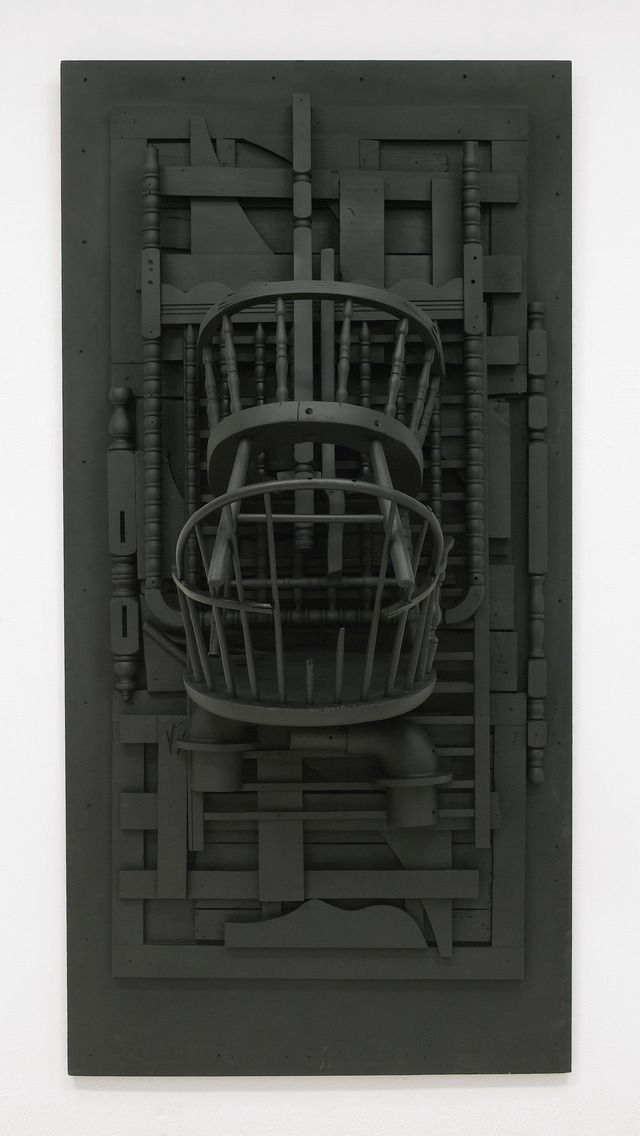 "louise nevelson, 1976. Wood painted black, 96"" x 48"" x 30-1/4"" (243.8 cm x 121.9 cm x 76.8 cm)."