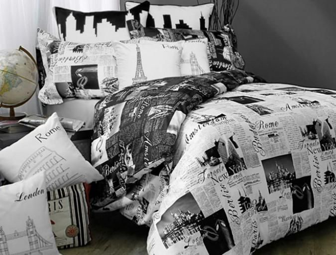 black and white paris themed bedding