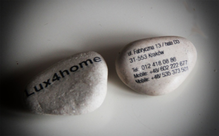Business cards inspiration. Creative Business cards on NATURAL PEBBLE Stone.    Autor: Lux4home™  Company: Lux4home™  Website: http://www.Lux4home.com