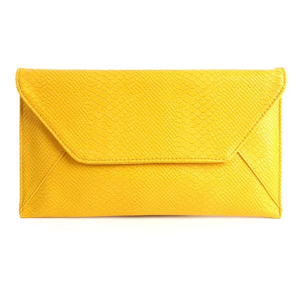 New Faux Snake Alligator Envelope Clutch Bag (Yellow) (799.800 IDR) ❤ liked on Polyvore featuring bags, handbags, clutches, accessories, purses, yellow, faux purses, fake purse, yellow clutches and alligator purse