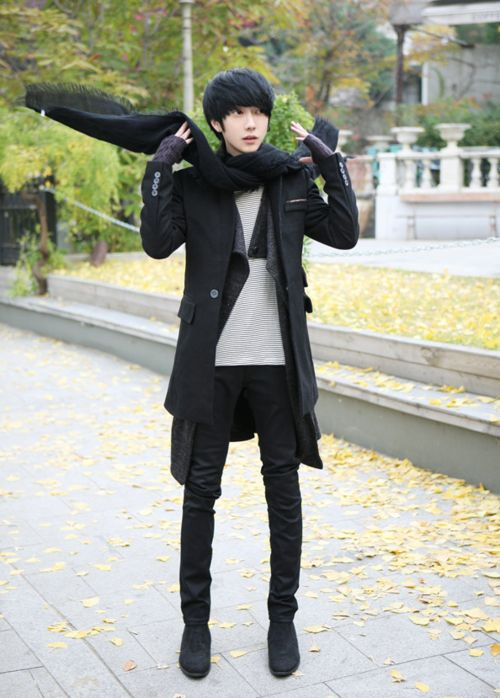 Male korean: Black blazer, black knit muffler, black design cardigan, light gray knit shirt, black skinny jeans, black shoes.
