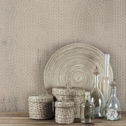 Weave texture into your home decor with easy DIY woven knit designs and Furniture Stencils. Decorate and paint these patterns in a warm neutral color palette.