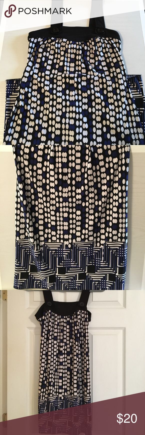 """Dress up and go out, here's a cute dress for that! Blue, white, and black geometrical dress, with black straps, size small """"made in USA"""" My Michelle Dresses"""