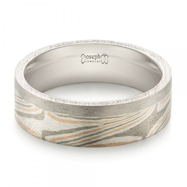 This stylish men s wedding ring features a mokume gane inlay across most of  the top half of the brushed palladium band  It was created for a couple  from  53 best Mokume Gane Rings images on Pinterest   Men wedding rings  . Design Your Own Mens Wedding Ring. Home Design Ideas