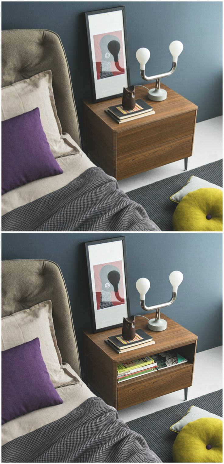 Featuring two drawers for storage, BOSTON is a linear nightstand. Featuring a push-pull and self-closing mechanism, the drawer remain clean and streamlined. With a choice between wooden or metal feet, BOSTON is a perfect complement to your Calligaris bed. #calligaris #toronto #bedroom #nightstand