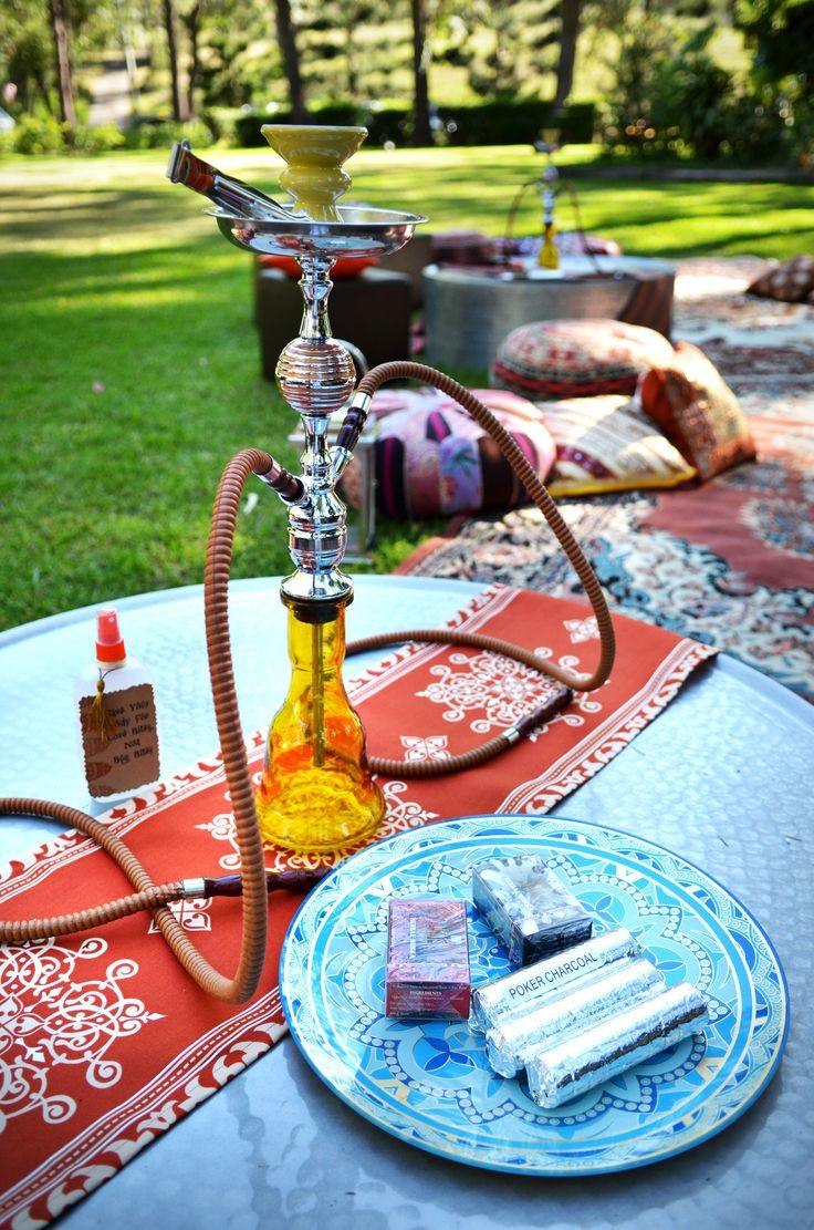 Shisha hooka with themed plate and themed table runner